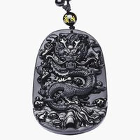 siyah yeşim taş kolye toptan satış-QIANXU Drop Shipping Siyah Obsidyen Ejderha Kolye Kolye Yeşim Kolye Takı Güzel Takı