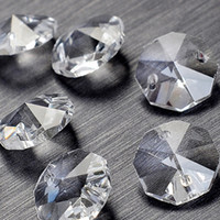 Bulk 100Pcs lot 14mm 2 holes Crystal Octagon Bead Prism Chandelier Crystal
