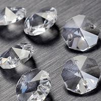 contas de cristal octagon venda por atacado-Granel 100 Pçs / lote 14mm 2 furos de Cristal Octagon Bead Prisma Lustre de Cristal