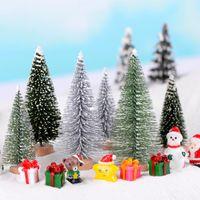 ingrosso albero di bonsai di natale-6pcs Dollhouse Decor Albero di Natale Natale Fairy Garden Miniature Bonsai Strumenti Terrario Figurine jardin Accessori per la casa Micro Paesaggio