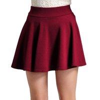 Wholesale Pleated Skater Mini Skirt - Summer Women Korean Short Skater Pleated Skirt High Elasticity Mini School Skirts Knitted Stretch Skirt