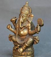 estatua del dios chino al por mayor-Chino viejo bronce Tibet budismo cuatro brazos elefante dios Mammon estatua de Buda