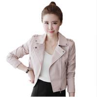 lindos abrigos cortos al por mayor-Nuevas mujeres Chaquetas de cuero Soft Pu negro Abrigos de cuero Short Design Slim Cute Faux Motocicleta Abrigos básicos