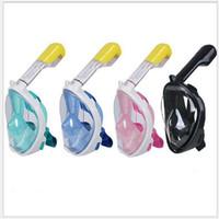 sis öncesi tüylü maske toptan satış-Yüzücü Tam Yüz Dalış Maskesi Sualtı Yüzme Anti Sis kaykay Halka ile Tüplü Dalış Maskesi Kamera için Earplug