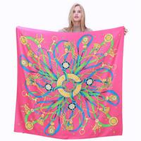 ingrosso chain print scarf-New Twill Silk Scarf Women Spagna Royal Chain Print Square Sciarpe Fashion Wraps Foulard femminile Grande Hijab Scialle fazzoletto da collo 130cm * 130CM