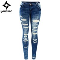 ingrosso jeans donne basso aumento-2045 Youaxon Women's Celebrity Style Moda Blu Low Rise Skinny Distressed Washed Stretch Jeans denim per le donne pantaloni strappati