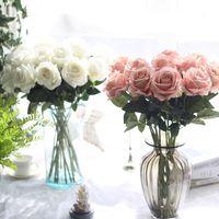 одноцветные розовые розы оптовых-10 шт. / лот свадебные украшения реальный сенсорный материал искусственные цветы букет роз главная партия украшения поддельные шелк один стебель цветы цветочные