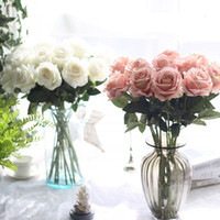 Wholesale stemmed roses - 10pcs lot decor latex Real touch material Artificial Flower Rose Bouquet Wedding Home Party Decoration Fake Silk single stem Flowers Floral