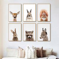 modern bebek kreş dekor toptan satış-Sincap Baskı Woodland Kreş Duvar Sanatı Dekor Orman Hayvanlar Bebek Hayvan Büyük Posteri Oturma Odası Modern Dekorasyon