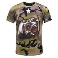 Wholesale military tees - Orangutan Camouflage t shirt men Luxury tide Brand designer orangutan star unisex tee chimps funny military mens t shirt D30