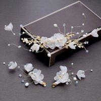 jeu de tête pour mariage achat en gros de-Un ensemble pince à cheveux de mariée tissu strass perles robe de mariée épingles à cheveux tête décorée plaque cheveux ornements accessoires de performance