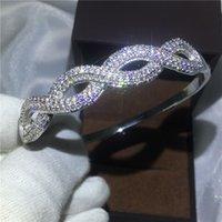 elmas sonsuzluğu toptan satış-Infinity bilezik Açacağı ayar Elmas S925 Gümüş kadınlar için Dolgulu Çapraz shinning bileklik düğün accessaries