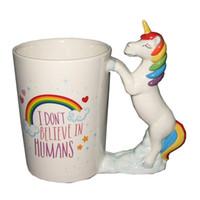 copo de café dos desenhos animados 3d caneca venda por atacado-Xícara De Café De cerâmica Com Alça Bonito Unicórnio Caneca Dos Desenhos Animados 3D Forma Animal Tumbler Presente Criativo Venda Quente 17kq C