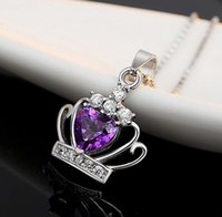 Wholesale silver 925 necklace gem resale online - Crystal Crown Diamond Heart Necklace Jewelry New Sterling Silver Plated Austrian Gem Crystal Crown Wedding Pendant Christmas Gift