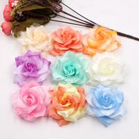Wholesale Large Silk Roses - 10pcs Large Silk 2 Color Fire Rose Artificial Flower Head For Wedding Decoration DIY Garland Decorative Floristry Fake Flowers