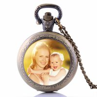 детские фото любви оптовых-Personalized Photo Pendants Custom Pocket Watch Necklace Photo of Your Baby Child Mom Dad Grandparent Loved One Gift for Family
