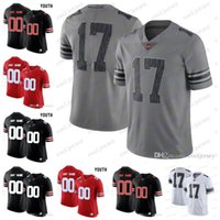 Wholesale camo football - Custom 2018 Ohio State Buckeyes College Football White Gray Black Camo Jersey Stitched Any Number Name Haskins Jr. George Dobbins Red OSU