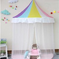 Wholesale blue baby girl bedding online - Hanging Bed Canopy Kid Infant Boys Girls Princess Canopy Bed Valance Play Tent Valance Baby Bed Round Kid S Room Decoration Tents COlors