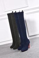 zapatos de diseño de muslo al por mayor-Lujo Nueva Primavera silueta de las mujeres Bota de caña alta 10CM calcetines ocasionales de los zapatos del bordado del diseño 22 pulgadas de largo Botas Tamaño 35-41