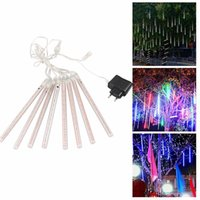 Wholesale shower stars for sale - 8pcs set Christmas light Snowfall LED Strips Christmas Rain tube cm Meteor Shower Rain LED Light tubes EU US Plug