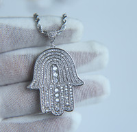 Wholesale lucky gold chain resale online - mens lucky hamsa hand pendant necklace hip hop Rock style Full cubic zirconia quot rope chain silver gold plated cz men necklace