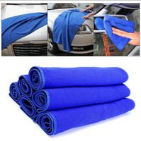Wholesale car wash microfiber towel - 30*70cm Blue Microfiber Cleaning Towel Car Wash Drying Cloths Super Water Absorbent Wash Towel 100pcs OOA4449