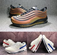 Wholesale luxury duck - 97 Skepta OG QS Gold Bronze Cushion Running Shoes 97s BW Red Blue Mandarin Duck Brand Sports Sneakers Fashion Outdoor Luxury Flagship Shoe