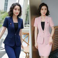 Wholesale Women Jackets For Work - 2018 4XL Plus Size Summer Skirt Suits for Women Business Set Short Sleeve Jacket +Skirt Ladies Work Suit HPZ-SY-6850TQ