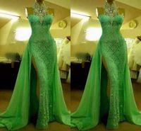 robe de bal sexy vert pomme achat en gros de-2018 robes de soirée vert pomme magnifiques col haut paillettes en dentelle sans manches sexy balayage train côté robes de soirée robes de bal