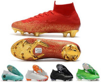 Wholesale soccer cleats mercurial superfly online - 2018 Word Cup Football Boots Mens Mercurial Superfly VI Elite Neymar FG Soccer Shoes High Ankle Kids SuperflyX KJ XII Ronaldo CR7 Cleats
