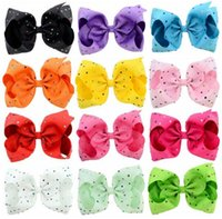 Wholesale wholesale diamond barrette - HOT SALE JoJo Siwa Kids Girls Teens 8inch Diamond Bow Hair Large Flash Sparkle Hair Bow Dance Hair Bows Cheerleader Bow