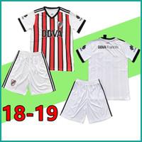 Wholesale River Free - 10 sets free DHL 2018 2019 Riverbed Soccer jersey kit 18 19 River Plate jerseys Home men Football shirt uniform Custom Set