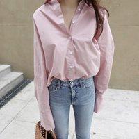 ecd5c1665460 blusen rosa farbe großhandel-Frühling Frische Weiße Rosa Einfarbig Bluse  Langarm-shirt Frauen Top