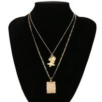metall stieg blumen großhandel-Chokerhalsketten Frauen Metall Rose Blume Halsketten Anhänger Für Damen Modeschmuck Bijoux Multilayer Ketten Halsketten