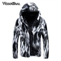 Wholesale korean style casual clothing online - 2018 Autumn Winter New Faux Fur Jackets Men Coat Casual Hooded Korean Style Thick Fashion Overcoat Jacket Coats Clothing MJ046