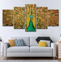 Wholesale peacock paintings piece resale online - Wall Art Modern Decor Frame Canvas Pictures Room Poster Pieces Peacock Flaunting Its Tail Feathers Painting HD Printed