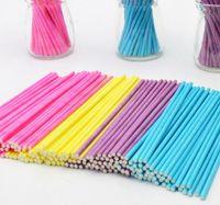 bastões de doces pop venda por atacado-Hot 100 pçs / lote Colorido Pirulito Vara 15 CM Papen Bolo Pop Sticks para Lollypop Pirulito Doces de Chocolate Cudgel Pólo Alça Rod