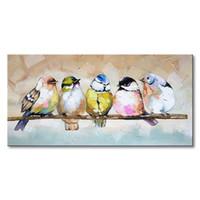 pássaro pintado a óleo venda por atacado-Handmade Pássaro Família pintura A Óleo Animal Da Parede Da Lona de Arte Moderna Decoração Art Hand Painted Handcraft Pintura A Óleo