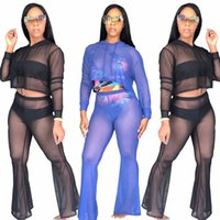 Wholesale Black Cotton Bandage Pants - 2 Piece Set Women Bandage Top And Pants Track Suit 2018 Mesh Tracksuit Casual Two Pieces Sexy Summer Outfits