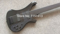 Wholesale fretless guitars for sale - Group buy Custom RIC Strings Black Electric Bass Guitar Black Hardware Fretless Fingerboard Without Inlay Top Selling