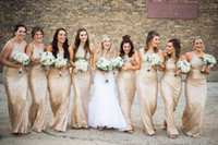 Wholesale sparkly pink formal dress - 2018 Sparkly Sequined Sheath Bridesmaid Dresses Halter Neck Backless Floor Length Formal Maid Of Honor Dresses Bridesmaid Gowns