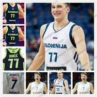 Wholesale basketball pick - Men's Slovenija #77 Luka Doncic 2018 Draft First Round Pick Jersey Black White Blue Free Shipping Embroidered Basketball Stitched size S-3XL