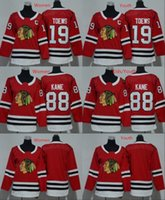 eis hockey leer jersey s großhandel-2018 Männer Frauen Jugend Chicago Blackhawks Trikots 88 Patrick Kane 19 Jonathan Toews Blank Home Red Kinder Eishockey Trikot Damen Jungen Mädchen