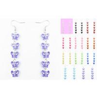 Wholesale acrylic butterfly beads - Butterfly Bead Earrings 11 Colors Acrylic Bead Hook Chandelier Dangle Eardrop Wholesale Lots ( Purple Black Pink Sky Blue Yellow )(JZ029)