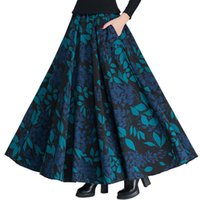 88c2c3f2a6 Vintage Wool Skirts Womens High Waist Jupe Printing Maxi Long Skirt Faldas  Mujer Autumn Winter Woolen Pleated Skirt Saia C3850