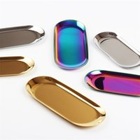 Wholesale z jewelry resale online - Ellipse Metal Color Jewelry Plate Stainless Steel Fun Design Snack Dishes Tray For Kitchen Desk Unique Design Decoration Hot Sale ys6 Z