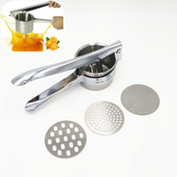 Wholesale Metal Lemon Squeezer - Potato Ricer Premium Stainless Steel Lemon Squeezer Vegetable Masher With Three Accessories Cooking Tools Kitchen Utensils