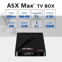 Wholesale quad band dual - A5X Max Plus Smart Android 7.1 TV Box RK3328 4K HDR10 USB3.0 4GB 32GB dual-band Wifi LAN Bluetooth 4.0 HD Media Player A5X MAX+