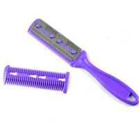 ingrosso forbice della lama del pettine-1 * pennelli per trucco spazzola per capelli Pro Hair Razor Comb Scissor Hairdressing Trimmers Lame per rasatura dei capelli Cutting Thinning styling tool
