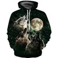 frauen galaxie hoodie großhandel-Frühling Herbst Sweatshirt Galaxy Moon Wolf 3D Hoodies Animal Print Mens Womens Pullover Jacke Trainingsanzug Mit Kapuze Oberbekleidung